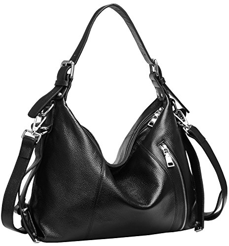 [Materials ]: Top Layer Cowhide Genuine leather. High quality silver hardware. Dark brown interior polyester lining. Zippered opening closure. [Interior Pocket]: A main zippered pocket. Including 1 inner zipper pocket a interior compartment, one with...