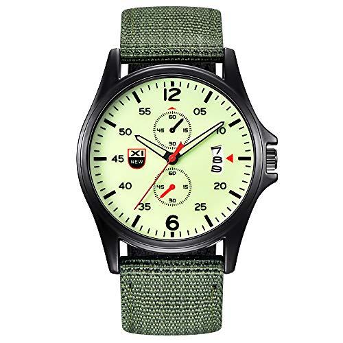 Memefood Relojes Deportivos Cronógrafo Analógico De Pulsera De Cuarzo De Lienzo De Moda Dial Calendario Casual Negocios Militar Impermeable Regalo para Hombre (E)