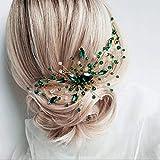 Anglacesmade Peigne à cheveux en cristal vert émeraude, vigne en malachite pour mariage, bal de promo, festival, pour femmes et filles