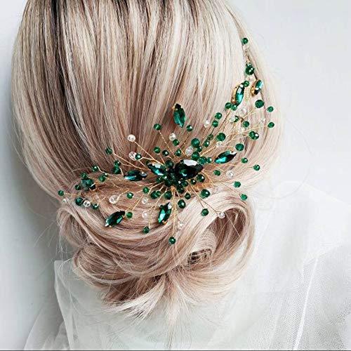 Anglacesmade Brautschmuck, grüner Kristall-Haarkamm, Smaragdgrün, Malachit, für Hochzeit, Abschlussball, Party, Festival, Haarschmuck für Frauen und Mädchen (Gold)