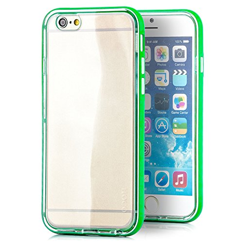 Preisvergleich Produktbild HOCO. Apple iPhone 6 / 6S Hülle Hybrid Slim Case und Aluminium Bumper Rahmen Cover Schutzhülle Transparent - Grün