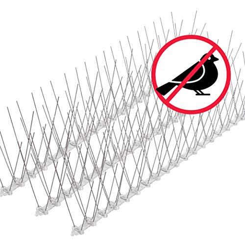 riijk Sistema Anti Pájaros de Acero Inoxidable - 9 Metros de Púas Anti Palomas y Anti Gatos - Premontado