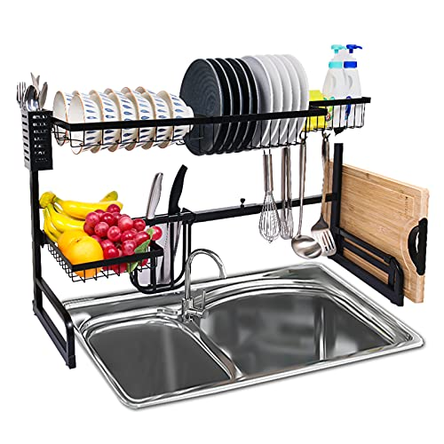Over the Sink Dish Drying Rack, Stainless Kitchen Sink Organizer, 2 Tier Dryer Rack Shelf Utensil Holder For Storage Space Saver, Length Adjustable 25.4''- 35.6'' with 5 Utility Hook Tableware Drainer