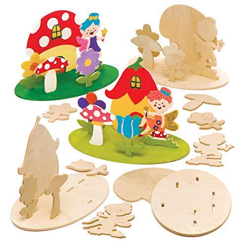 """Baker Ross 3D-Bastelsets """"Fee"""" aus Holz (4 Stück) – für Kinder zum Basteln, Gestalten und als Dekoidee"""