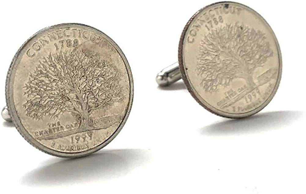 Connecticut State Quarter Cufflinks Tree US Jewelry Money Selling Coin C It is very popular
