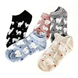 EPRHY Frauen Mädchen Low Cut Socken 5 Paar Süße Cartoon Alpaka und Liebe Herzen Muster Weibliche Mode Knöchel No Show Socken Baumwolle Kurze Socken Casual Socken Geschenkidee Ventil