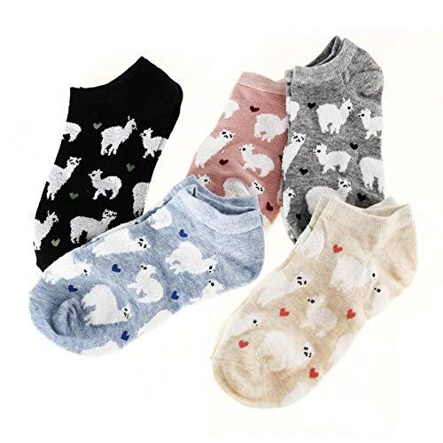 EPRHY Damen Mädchen Low Cut Socken, 5 Paar, süße Cartoon Alpaka und Herz-Muster, weiblich, Fashion Knöchel, Keine Show Socken, Baumwolle, Casual Socken, Geschenkidee, Ventil