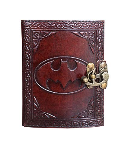 Batman Buffalo Leather Wander Journal with Clasp Celtic Notebook Gifts for Women Book of Shadows Blank Parchment Paper Office Supplies 6 x 4.5 inches