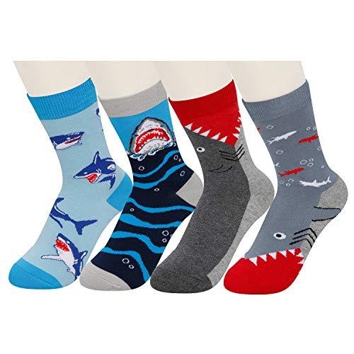 Boys 4 Pack Shark Crazy Silly Cotton Crew Socks, Novelty Funny Animal Pattern