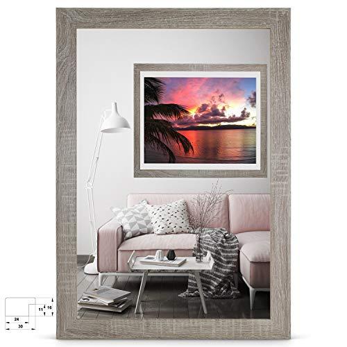 rahmengalerie24 Bilderrahmen 33x95 cm Rahmen Sonoma Eiche Holz Acrylglas ohne Passepartout Portraitrahmen Fotorahmen Wechselrahmen für Foto oder Bilder MDF Dekorahmen ohne Bild Alice