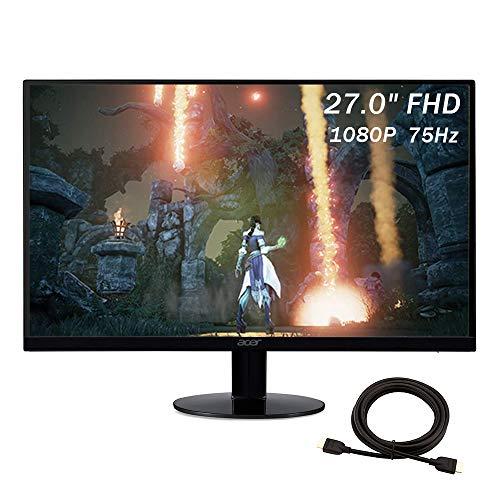 2021 Acer SB270 Bbix 27 Inch 75Hz Gaming Monitor| FHD (1920 x 1080) IPS Display| 1ms| Black¡ꡧVGA & HDMI Ports¡ê + NexiGo 4K HDMI Cable Bundle