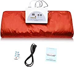 ETE ETMATE FIR Sauna Blanket, 2 Zone Controller Digital Heat Sauna Slimming Blanket Body Shaper Weight Loss Professional Detox Therapy Anti Ageing Beauty Machine (Orange)