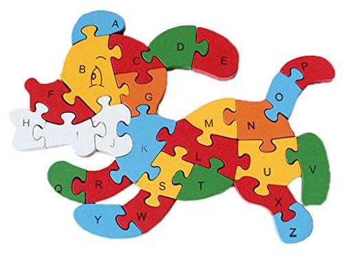Bigood Jouet Bébé Enfant Puzzle en Bois Alphabet Chiffre Chien Mordre Os Préscolaire Apprentissage