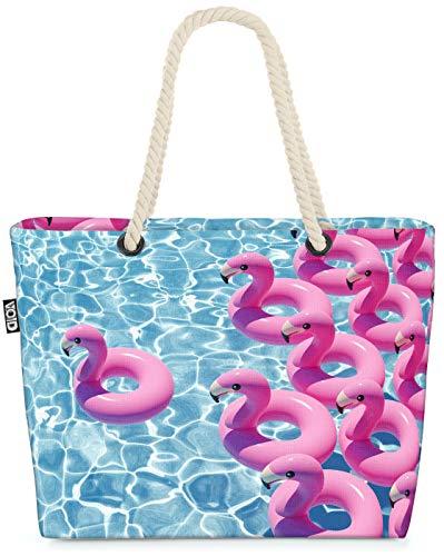 VOID Swimming Pool Flamingos Strandtasche Shopper 58x38x16cm 23L XXL Einkaufstasche Tasche Reisetasche Beach Bag