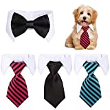 4 Pieces Adjustable Pets Dog Cat Bow Tie Pet Formal Tuxedo Costume Necktie Collar Stripes for Small Dogs Cats (S)