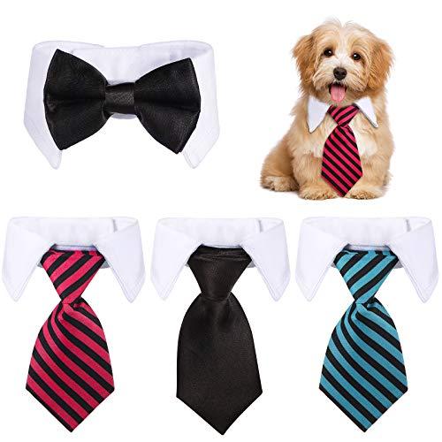 4 Pajaritas Ajustables de Perros y Gatos Collar de Corbata de Disfraz de Mascotas Pajarita de Esmoquin Formal de Mascotas Collar de Corbata a Rayas para Perros Pequeos, Cachorros, Gatos (S)