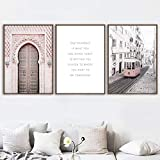 Rudxa Pink Morocco Door Paris Bus Wall Art Canvas Painting Posters and Prints Wall Pictures For Living Room Decor-50x70cmx3 pcs sin Marco