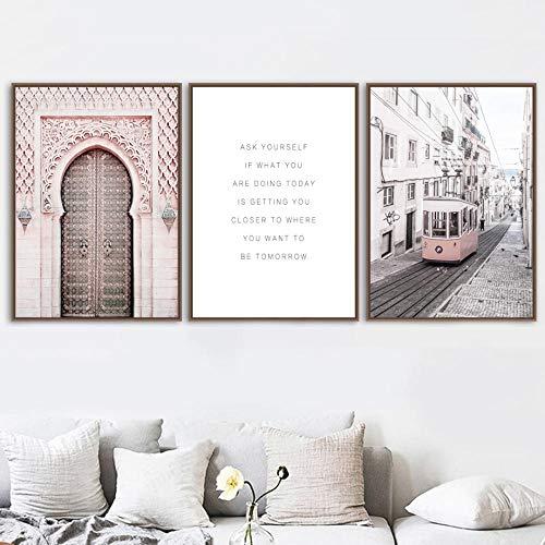 Roze Marokko deur Parijs bus muurkunst canvas schilderij affiches en prints muurschilderingen voor woonkamer decoratie 50x70cmx3 zonder lijst