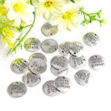 AUEAR, DIY Charms Inspirational Message Charm Pendants for Jewelry Making Inspiration Words for DIY Necklace Bracelet (60 Pcs, Live Your Dream+Never Give Up Message)