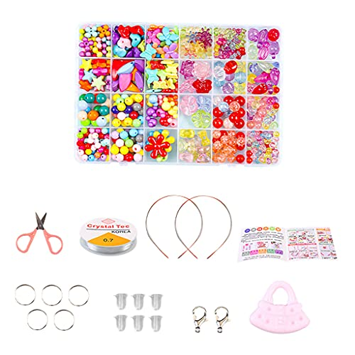oshhni Juego de Cuentas de Bricolaje para niños, Cuentas de Poni para Hacer Collares, Pulseras, artesanía y Kit de fabricación de Joyas para niñas de 4 5 6 7 - Conjunto 11