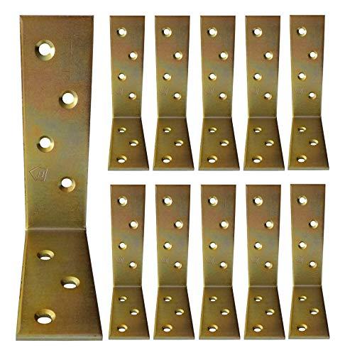 10 Pieces L Right Angle Bracket Gold Corner Shelf Supports Brackets 100 x 75 x 30mm x3mm (3.94'x2.95'x1.18'x0.12')