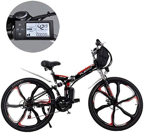 MJY Bicicleta Bicicleta eléctrica de montaña, 24/26 pulgadas Batería de litio extraíble de 21 velocidades Bicicleta eléctrica de montaña plegable con bolsa para colgar Tres modos de conducción 7-10,2