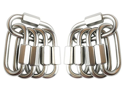 TXXMA 10-Pack D Shape Locking Carabiner M4 Stainless Steel Quick Link Chain Connector Keychain Ring Buckle