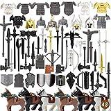 ColiCor 72pcs Conjunto de Armas Arma Medieval Personalizada para Caballeros y Soldados Medievales de la policía Minifiguras del Equipo SWAT, Compatible con Lego