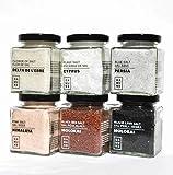 Sels Gourmet: Sel noir Hawai (200g), Sel rouge Alaea Hawai (200g), Flocons de sel de Chypre (100g), Fleur de Sel Delta de l'Ebre (150g), Sel bleu de Perse (200g) et Sel rose de l'Himalaya (200g)