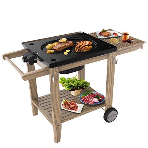 HengBO Raclette Grill Barbecue Smoker Holz-Ablagen Elektrischer - Grillfläche Luxus Grillwagen Holzkohle, Standfuß mit Rädern, mit Grillplatte, 2200W