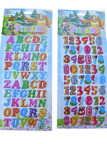 2x pages (#2) coloré Lettres & Numéros Alphabet Bouffi 3D Style decal réutilisable autocollants pour loisirs créatifs enfants Scrapbooks Anniversaire Cartes