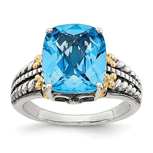925 Sterling Silver 14k Swiss Blue Topaz Band Ring Size 7.00 Stone Gemstone Fine Jewelry For Women Gifts For Her