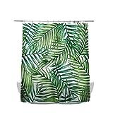 N¡§?rdicos plantas tropicales cortina de ducha impermeable Anti-mildew cortina de ba?o 180 cmx180 cm, con tipo C gancho