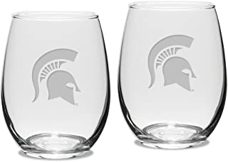 NCAA Michigan State Spartans Adult Set of 2 - 15 oz Stemless Wine Glass Deep Etched Engraved, One Size, Clear