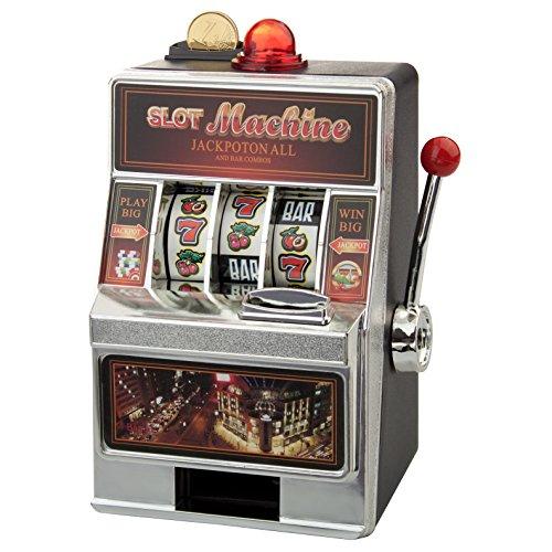 Geschenke 24 Spardose – Spielautomat (ohne Gravur): originelle Verpackung für Dein Geldgeschenk – in Las Vegas Optik und mit witzigen Soundeffekten – optional mit Deinem Wunschtext graviert