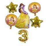 CHENGCHAO Globo Aurora Cenicienta Belle Snow Blanco Princesa Follo Globo Set Girls Cumpleaños Fiesta Decoración Suministros Número de bebé decoración (Color : Golden 3)