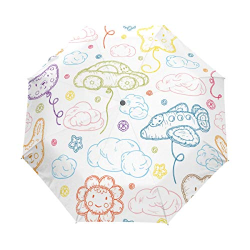 SUHETI Ombrello Portatile,Palloncini gonfiabili da spiaggia per bambini Giocattoli Kawaii,Ombrello Pieghevole Automatico Antivento