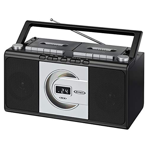Jensen MCR-1000SB Modern Retro Music System Portable CD/Cassette Player Stereo Boombox, LCD Display, Compact Dual Cassette Deck Recorder, AM/FM Radio, Bass Boost + Aux in & Headphone Jack