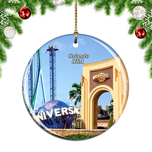 Weekino Universal Studios Florida Orlando America USA Christmas Ornament City Travel Souvenir Collection Double Sided Porcelain 2.85 Inch Hanging Tree Decoration