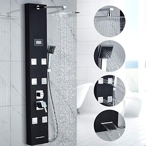 Duschpaneel Schwarz, OBEEONR Duschsystem 6 Massagendüsen 8 Inch Duschkopf Duschpaneele Edelstahl Regendusche mit Handbrause LCD Temperatur Display Duscharmatur