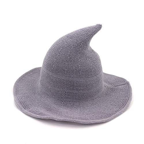 SILANER Cute Witch Hat Wool Hat Cap for Winter for Halloween Costume Play for Outdoor Activities (Gray, One Size)