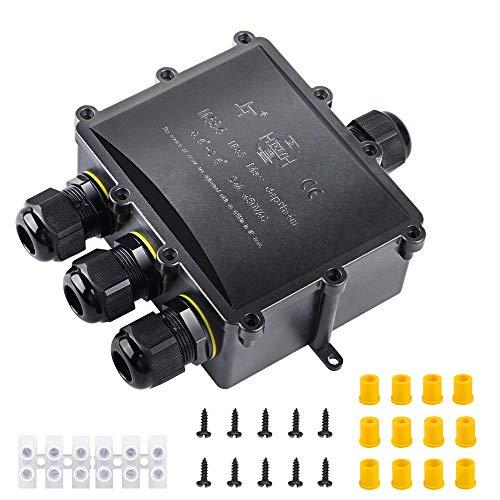 laxikoo Abzweigdose, Verbindungsdose Wasserdicht IP68 Kabelverbinder Aussen 4 Wege Stromverteiler Verteilerdose, Externer Anschlussdose Erdkabel 4-14mm für Garten Beleuchtung LED Verbindungsdose