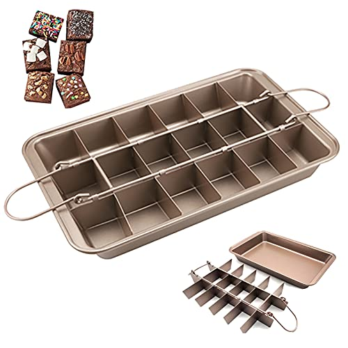 18 Pre-Slice Brownie Baking Tray, Nonstick Carbon Steel Brownie Pan with Built-in Slice, Square Baking Pan Bakeware Durble and Long-Lasting,Gold