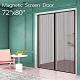 Magnetic Screen Door for French Door (72'W80'L) IKSTAR Sliding Screen Door with Full Frame Magic Tape Instant Double Mesh for Front Door Bug Out Kids/Pets Walk Through Fit Door Up to 70'x79' Max