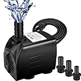 DULEX 550GPH Fountain Pump with 87' High Lift, 30W Ultra Quiet Adjustable Submersible Water Fountain Pump for Aquarium, Fish Tank, Pond, Hydroponics, Statuary - 6ft Power Cord, 3 Nozzles, 2000L/H