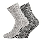 TippTexx24 2 Paar dicke ABS-Socken/Stopper-Socken EIN ECHTER HAUSSCHUH-ERSATZ (35/38, Graue Naturtöne)