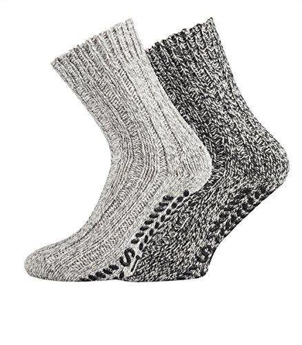 TippTexx24 2 Paar dicke ABS-Socken/Stopper-Socken EIN ECHTER HAUSSCHUH-ERSATZ (39/42, Graue Naturtöne)