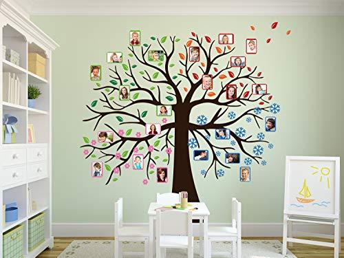 GRAZDesign Wandtattoo Baum - Vier Jahreszeiten Geburtstagskalender selbst gestalten Wandkalender für Kindergarten oder Schule - Klassenraum - Wandtattoo Familien Baum