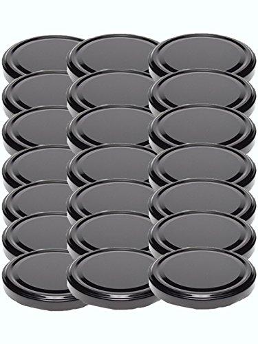 48 Twist-Off-Deckel Verschlüsse Ersatzdeckel Deckel für Sturzgläser To 82 Passend für 230/350 / 435 ml / 565 ml (Schwarz)