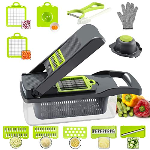 Cambom Onion Chopper Vegetable Chopper Mandoline Slicer Dicer with Colander Basket And Container Food Chopper Onion Cutter with Protective Gloves(Gray)